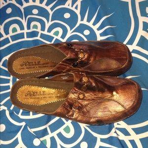 HELLE COMFORT SLIP ON CLOGS SZ 42 metallic bronze